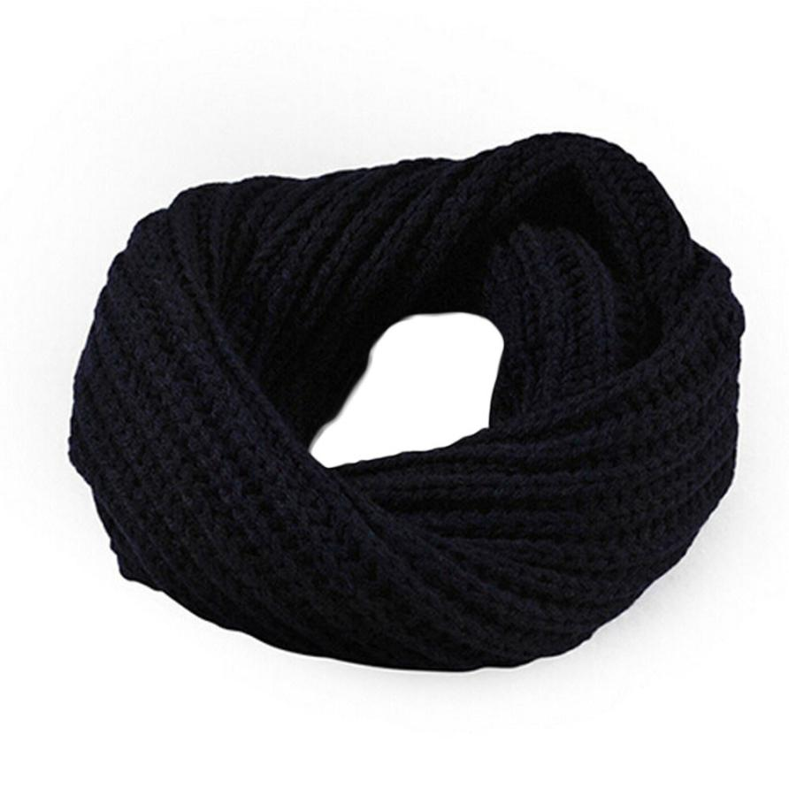 Осенне-зимний вязаный шерстяной шарф-шаль для мальчиков и девочек, теплый зимний шарф с воротником, Прямая поставка - Цвет: Navy