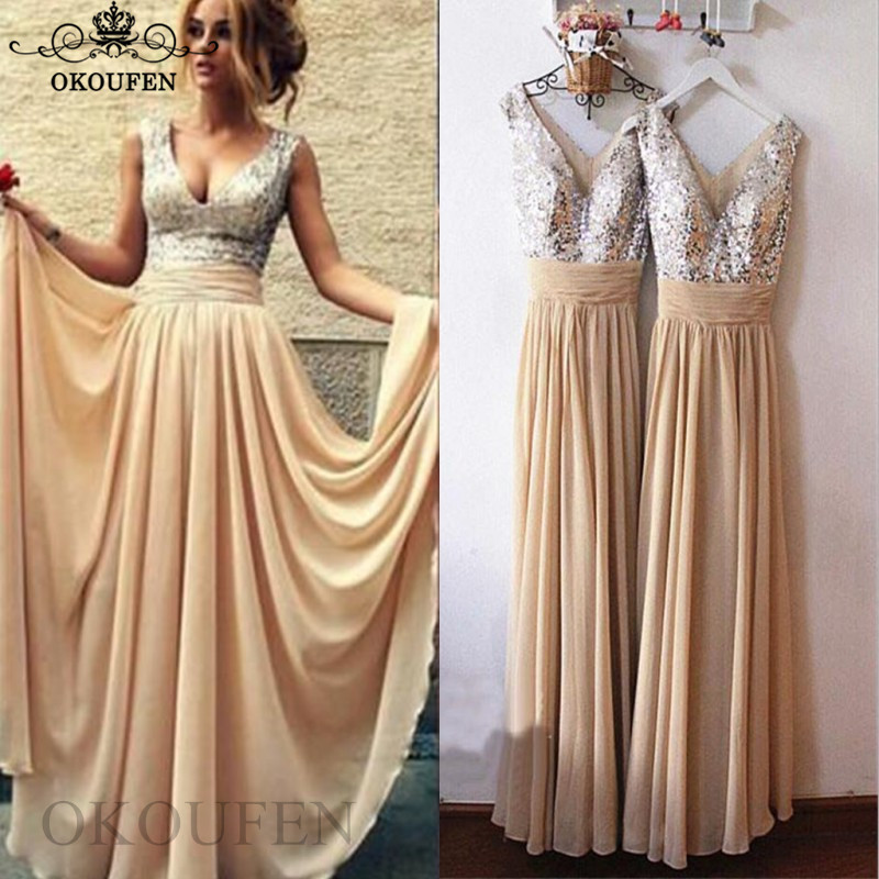 2019 Cheap   Bridesmaid     Dresses   For Women Silver Sequined Top and Champagne Chiffon Skirt Long Maid Of Honor   Dress   Party Gown