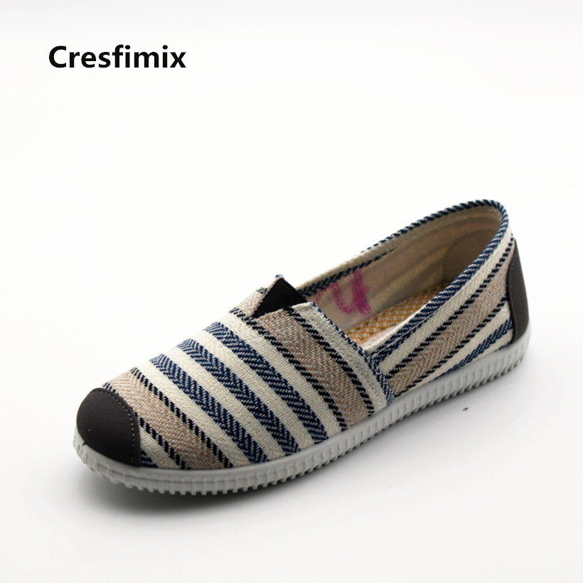 Cresfimix zapatos de mujer women fashion striped cloth shoes lady casual spring summer canvas slip on flat shoes female loafers cresfimix women fashion