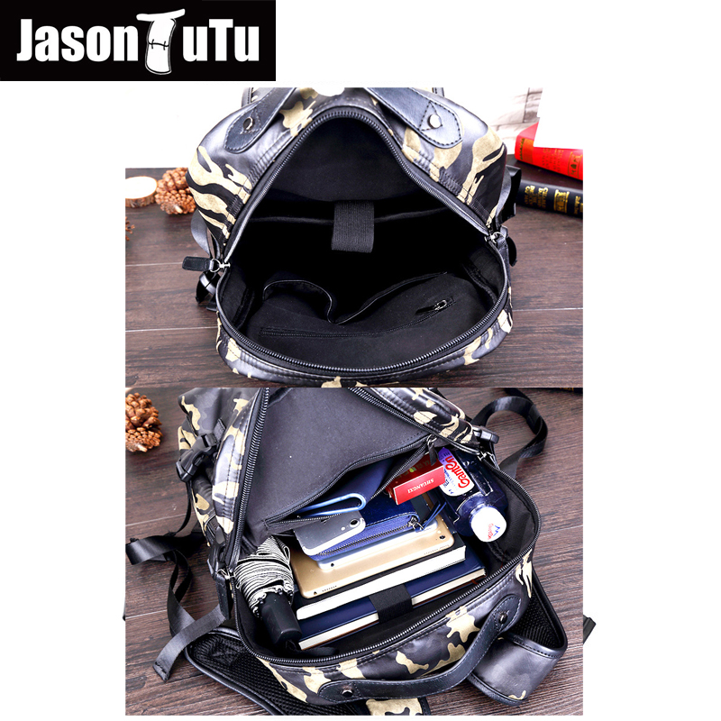 JASON TUTU Good quality Camouflage PU leather 14 inch laptop Backpack for teens school backpack Men Travel back pack B566
