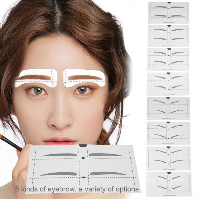 8 Types Eyebrow Stencil Eye Makeup Eyebrow Easy Drawing Guide Template Stickers Eye Brow Shaper Stencil Models Tool