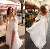 New Arrival Beach Wedding Dresses 2019 Sweetheart Lace Bohemian Wedding Dress With Detachable Sleeves Split Boho Bridal Gown