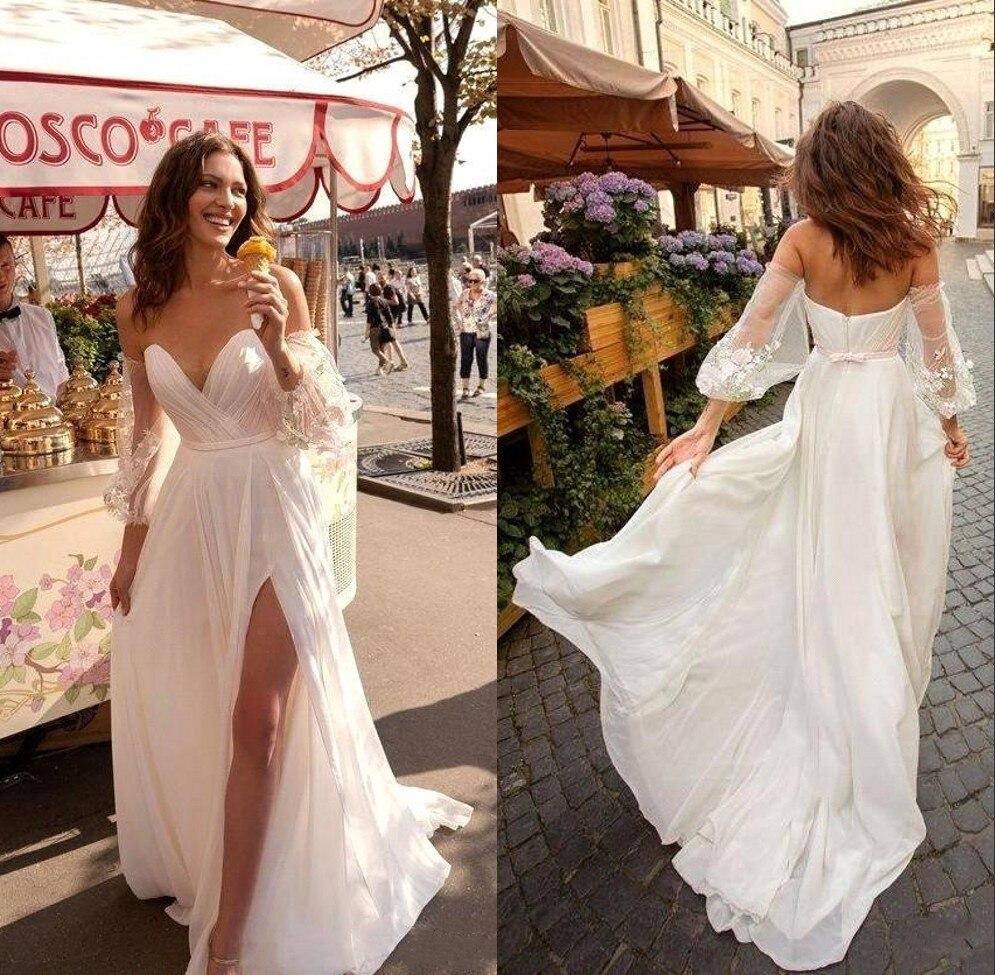 Nouveauté plage robe mariee 2019 boho dentelle bohème robe de mariée avec manches détachables Split robe de mariée