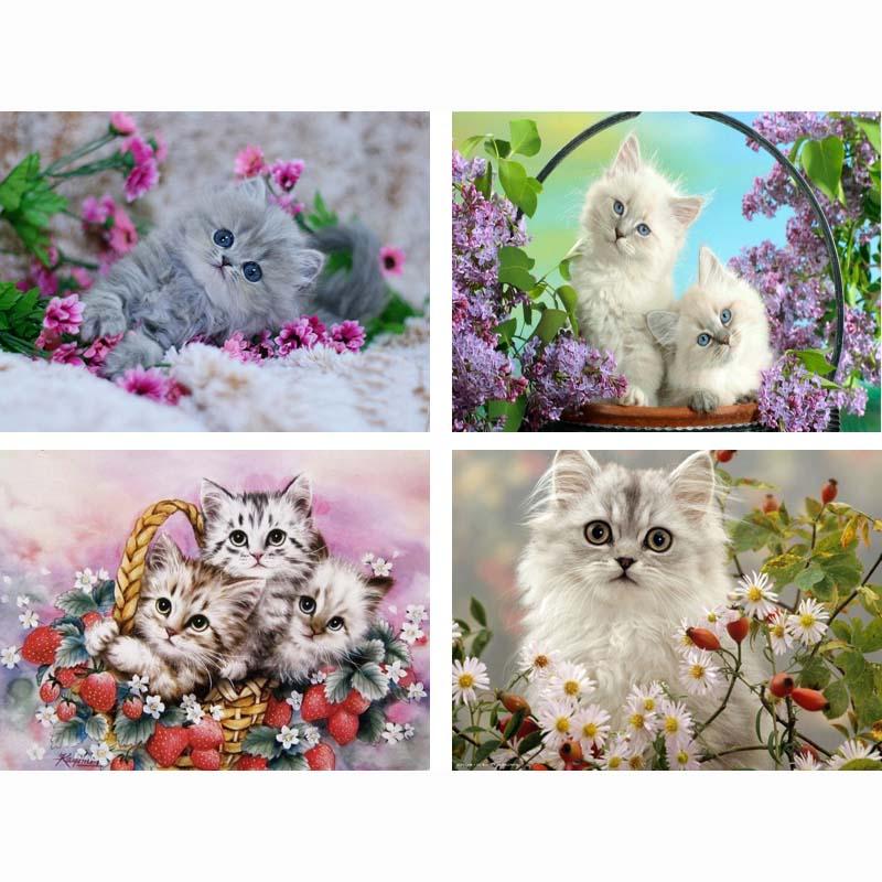 Imagen del mosaico de diamantes hecho a mano gato punto de cruz - Artes, artesanía y costura