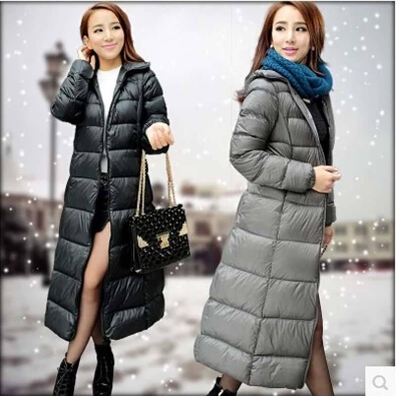 2016 Winter plus size X- Long Thick Duck Jacket women slim Parkas Hooded Coat coat AE450
