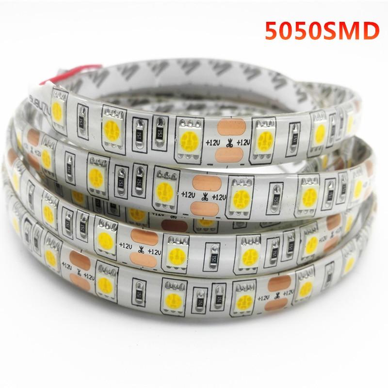 DC12V 1/2/3/5M 5050 smd RGB non/ip65 waterproof led flexible strip light 60 leds/m double PCB tira tape Home Decor Lamp Car lamp
