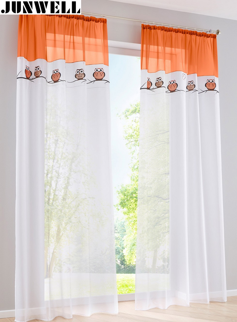 Voile Curtain Embroidery Living-Room European Tab-Top-Panel Balcony Home-Wave 1PC Owl title=