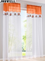 New Arrival Owl Embroidery Voile Curtain Tab Top Panel Home Wave European Living Room Balcony Voile