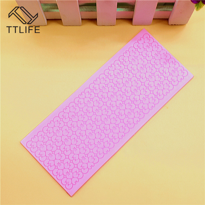 TTLIFE Lace Love Silicone Mold Floral Fondant Cake Pastry Decorating DIY Tools Chocolate Gumpaste Sugarcraft Mould Baking Gadget in Cake Molds from Home Garden
