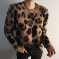 Korean Fashion Women Leopard Sweater 2018 Autumn Winter Tops Knitting Pullovers Thick Oversized Ladies Jumpers