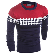 Pullover Men Top Promotion Polyester Men Wine Casual Slim Sweaters 2016 Autumn Wild Warm Geometric Patterns Pullovers Knitwear