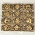 Retail 12 Diferentes Animales de Buena Calidad Amarillo Rectángulo Hombres Cinturón de Hebilla de Latón Macizo Cobre Nuevo Ajuste Hebillas 4 cm Wideth cinturón