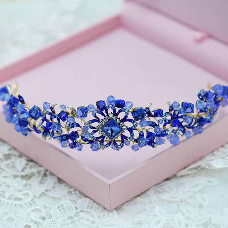 2 Color High quality Blue Red Rhinestone Crystal Crown Tiaras Headpieces Crystal Headbands Evening Hair Accessories