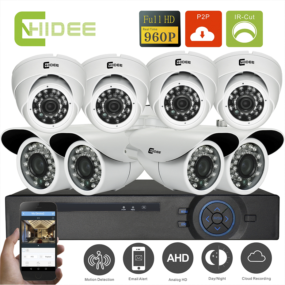 CNHIDEE Home Security Camera System NightVision AHD 8CH 960P IR 1500TVL DVR HD KIT Video Surveillance System 8CH Outdoor KIT SET  cnhidee home security camera system nightvision ahd 8ch 720p ir 1200tvl dvr hd kit video surveillance system 8ch outdoor kit set