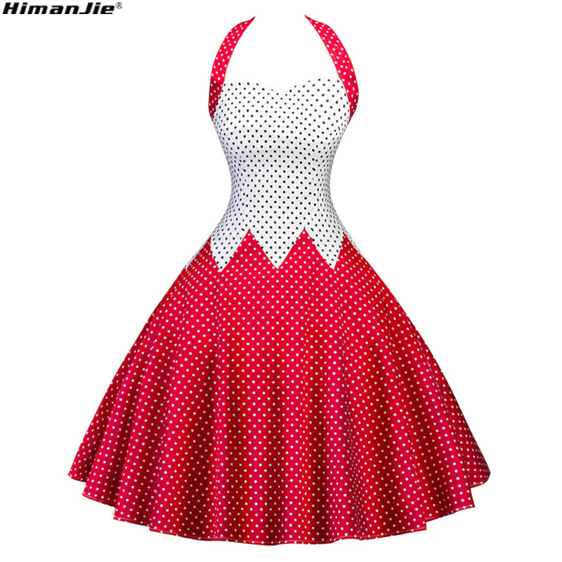 Woman Dress 2017 Summer Halter Vintage Red Black Polka Dot Dress Retro Cocktail Party 50s 60s Rockabilly Bandage Swing Dresses