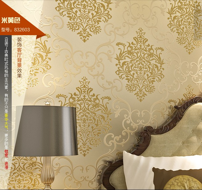 palace of Europe style waterproof big flowers Wallpaper gold non-woven wall stickers luxury bronzier tv background wall bedroom new fine fabric texture wall of setting of the bedroom a study wallpaper of europe type style yulan wallpaper fashion pavilion
