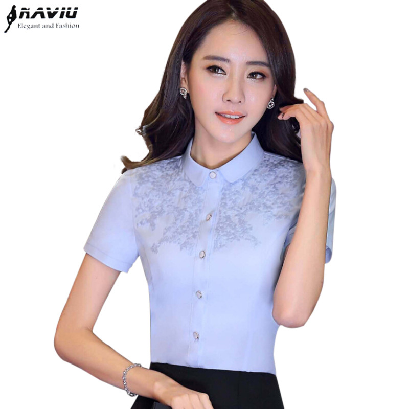 4aa987311e2f0b Summer New Women Lace Embroidery Flower Shirt Elegant Lady Office Business  Blouse Chinese Vintage Short Sleeve ...