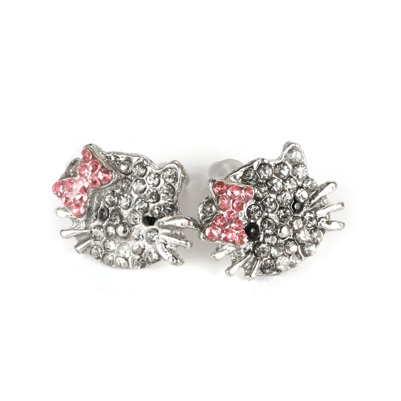 2018 Charm Rhinestone Statement Necklace Cute Cat Ring Stud Ear Earrings Colar Feminino Orecchini Pendenti Party Jewelry