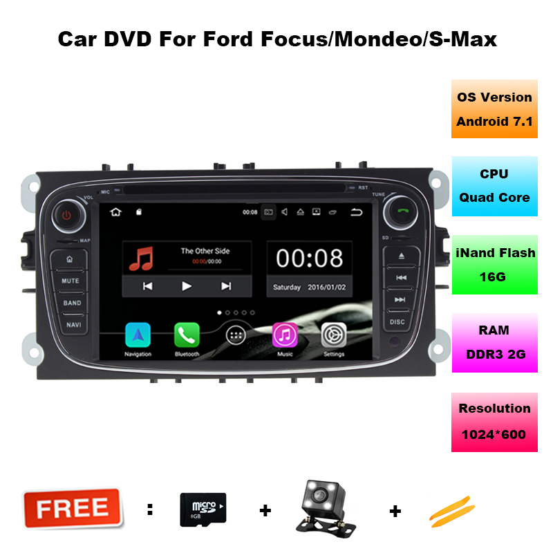 2 Din 7 Inch Android 7.1.1 Car DVD Player For FORD/Focus/Mondeo/S-MAX/C-MAX/Galaxy Multimedia Wifi GPS Navigation Radio FM