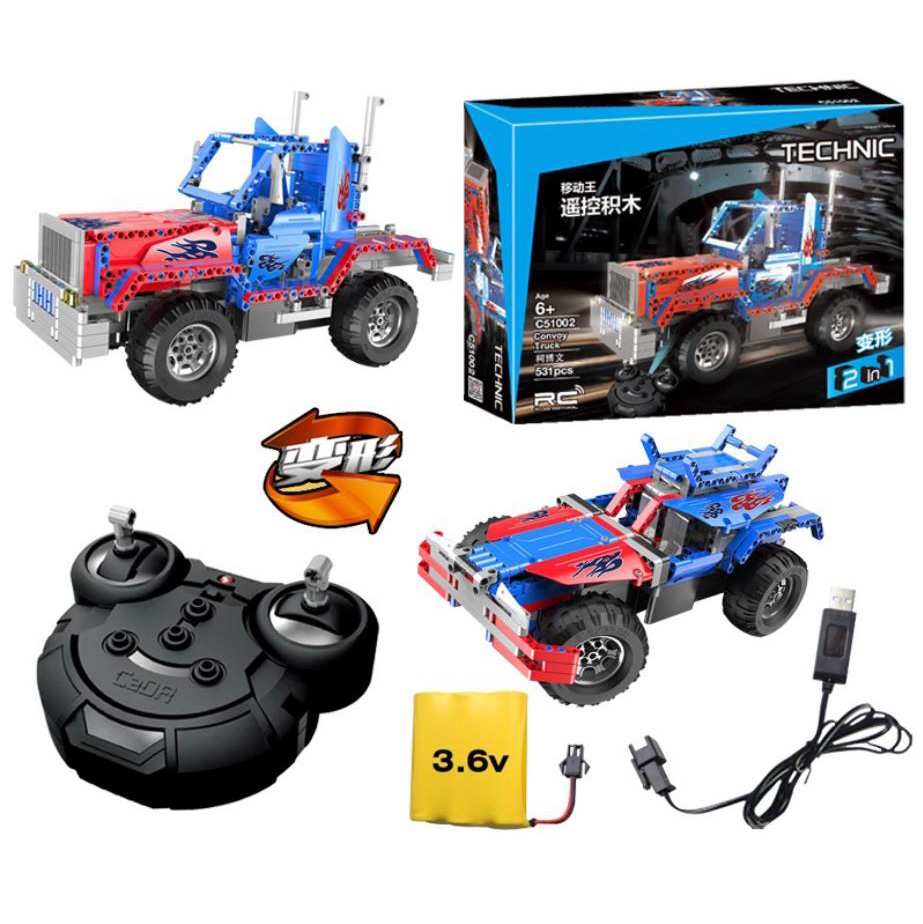 2in1 technics 2.4GHz radio remote control transformation block Peterbilt 389 truck assemblage model Off-road vehicle rc toys2in1 technics 2.4GHz radio remote control transformation block Peterbilt 389 truck assemblage model Off-road vehicle rc toys