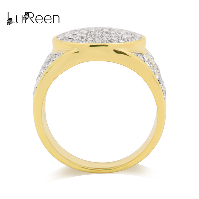 LuReen Gold Color Full Rhinestone Ring Men Hip Hop Wide Finger Rings Male 5 Size Anel Fashion Jewelry Party Gift LR06028
