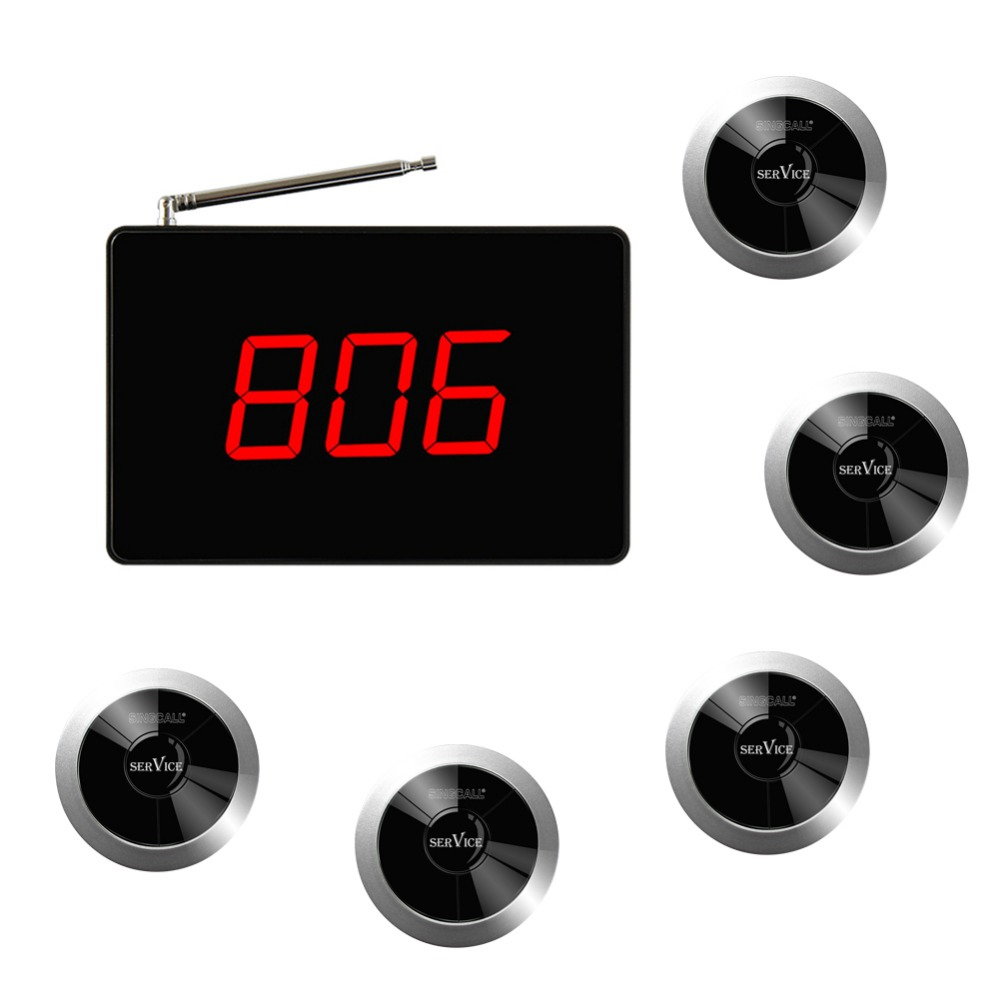 SINGCALL Wireless Call Button Bell Alert Notifier Beeper, Small Receiver Big Screen, Pack of 5 Pagers and 1 Receiver wireless pager system 433 92mhz wireless restaurant table buzzer with monitor and watch receiver 3 display 42 call button
