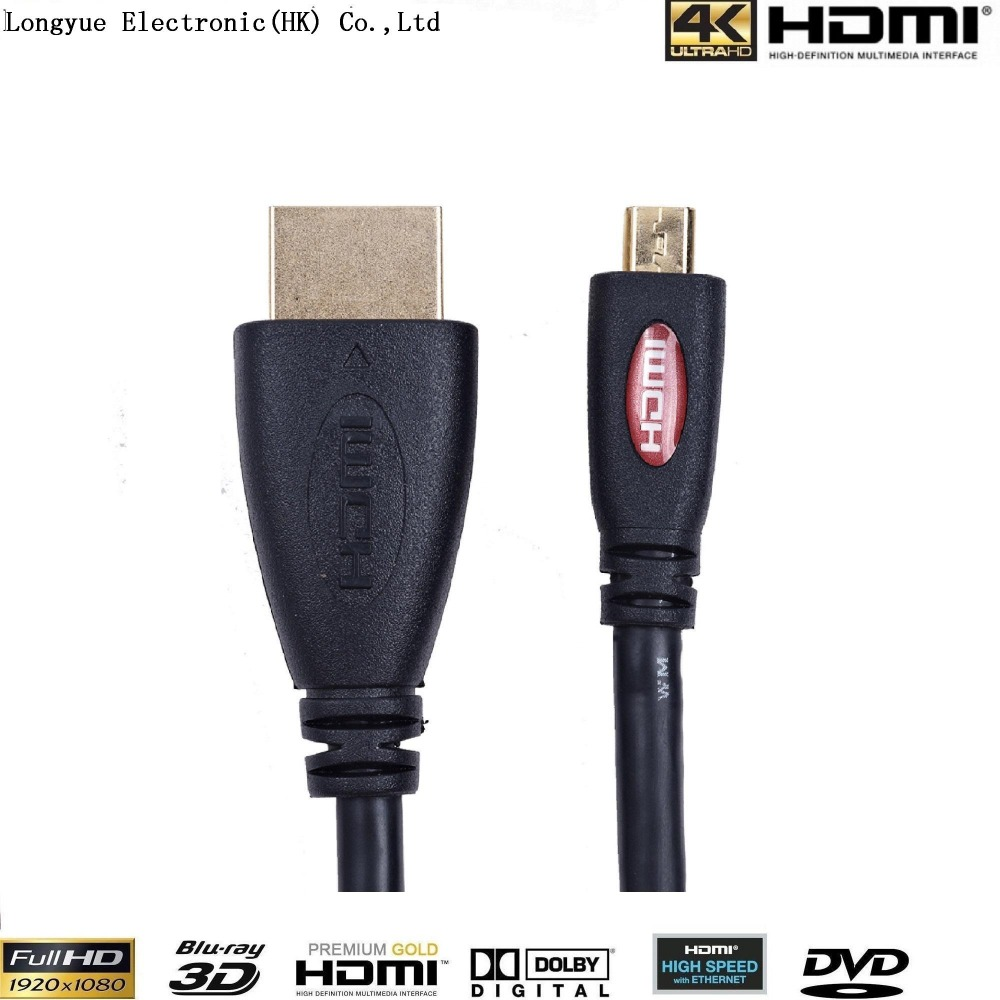 2-pack 1m MICRO HDMI to HDMI cable with Ethernet Gold Plated for Cell phones 1M for win8 4kx2k 3D PS3 XBOX con
