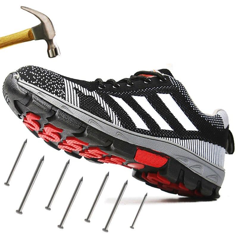 Для Мужчин's Сталь носком рабочие защитные ботинки, обувь; Воздухопроницаемый материал; Рабочая обувь анти-прокол противоскользящий дизайн Повседневное защитная обувь - Цвет: Black Style C