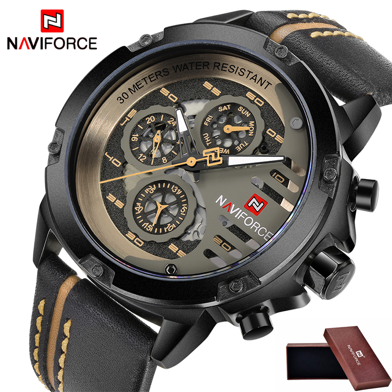 Mens Watches Top Brand Luxury Brand NAVIFORCE Casual Quartz Watch Men Leather Sport Wristwatch Man Waterproof Relogio Masculino 2017 new top fashion time limited relogio masculino mans watches sale sport watch blacl waterproof case quartz man wristwatches