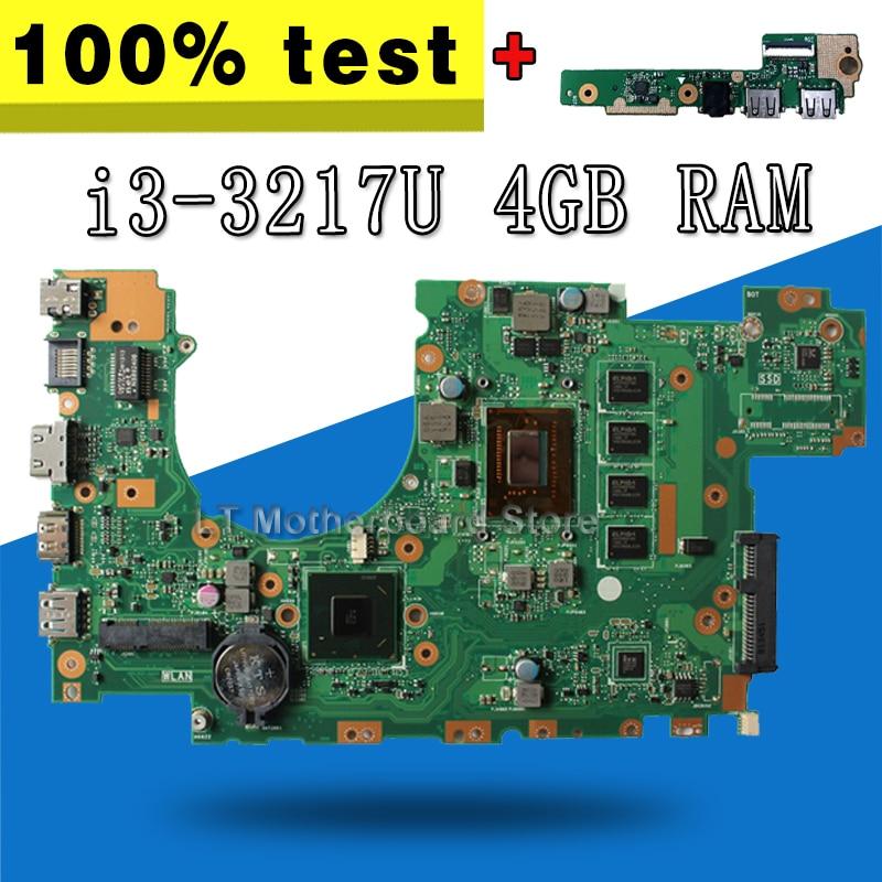 send board+X402CA Motherboard i3-3217U 4GB RAM REV 2.1/REV 3.1 For ASUS X502C X402C F402C Laptop motherboard X402CA Mainboard