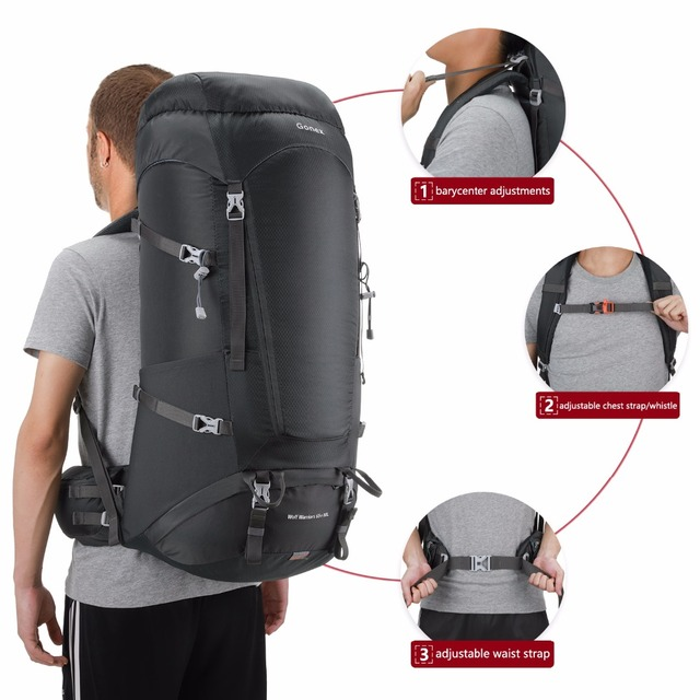 578855b0dc Gonex 65+10L Man Hiking Backpack Travel Outdoor Climbing Camping  Mountaineering Trekking Bag with Waterproof Rain Cover