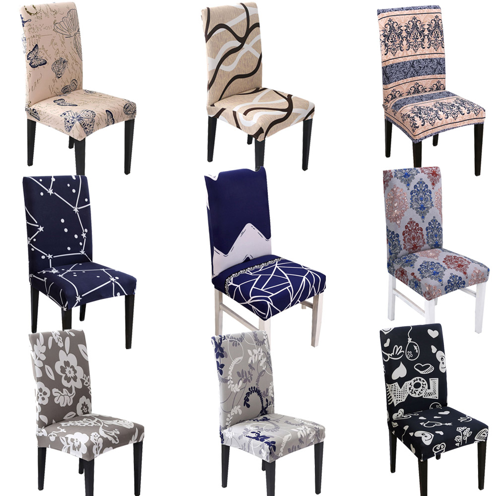 Flower Printing Chair Covers Spandex Stretch Elastic Slipcovers Universal  Removable Chair Cover For Kitchen Dining Room Banquet