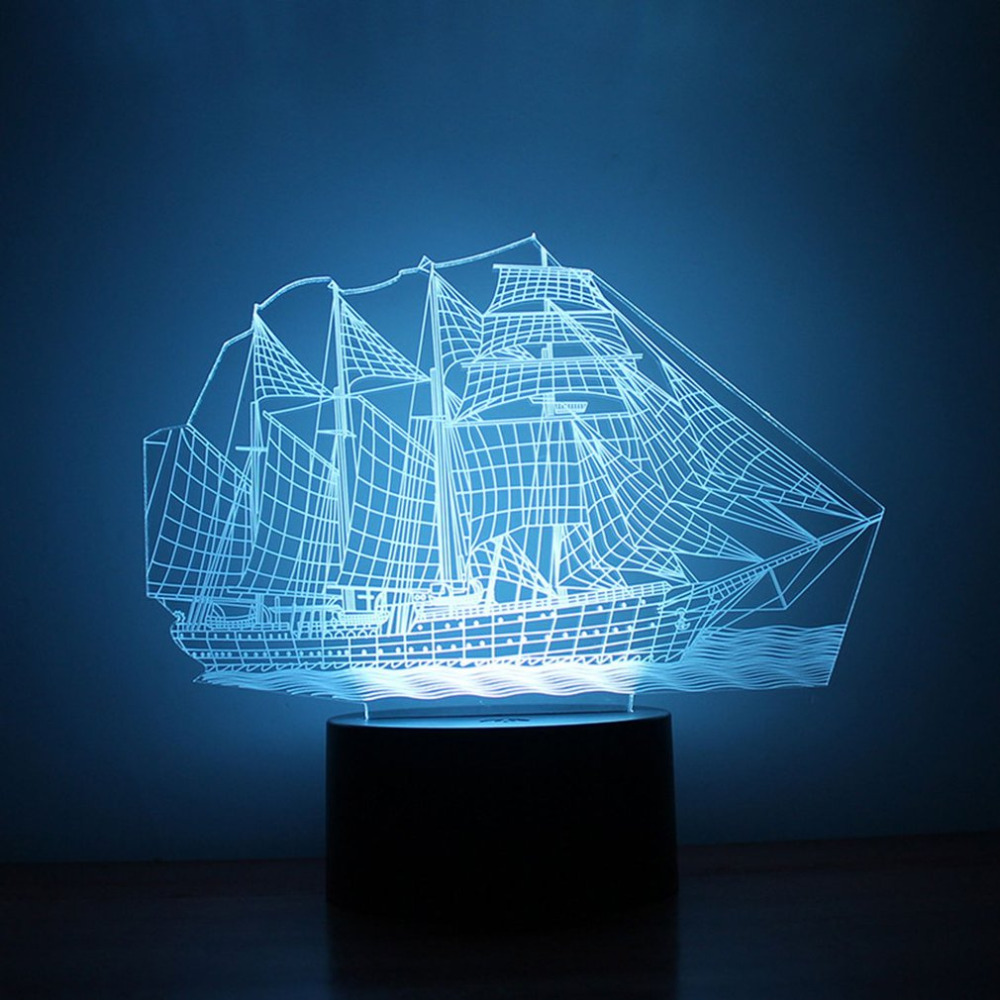 Unique 3D Small Night Light Sailing Ship Pattern 7 Color Bedroom Decorate Coloful LED Night Light