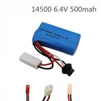 6.4v 500mah 15c 14500 bateria de íon de lítio rc brinquedos bateria SM-2P JST-2P EL-2P frete grátis