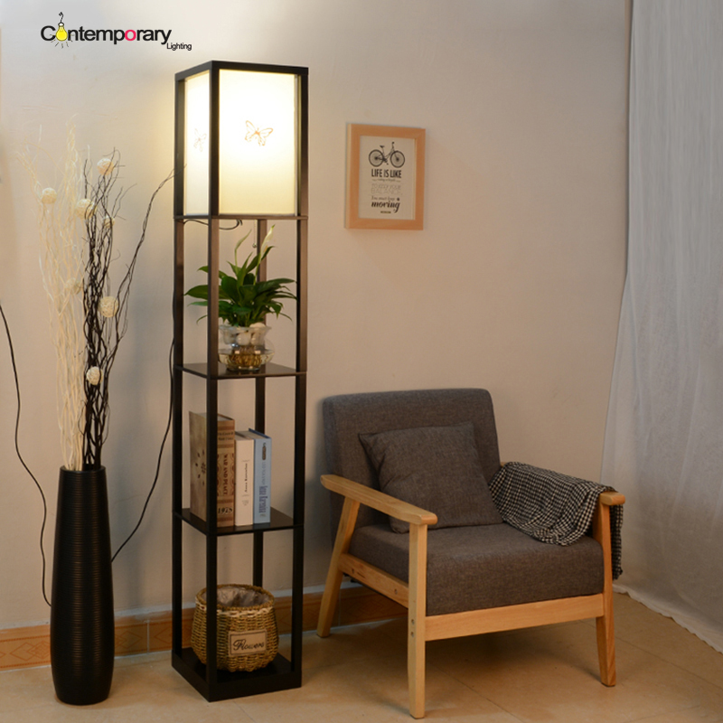 Wood e27 black modern nordic creative wood iron shelving for Floor lamps for living room