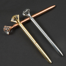 Ballpoint Pen Big Gem Metal Ball Pen With Large Diamond Ballpoint Pens office &school Stationary,1.0mm Cartridge Refill Black