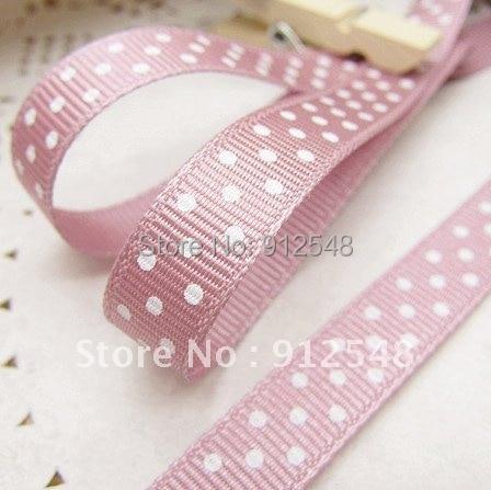 Оптовая продажа 20 ярдов 3/8 «10 мм фиолетовый розовый горошек Grosgrain ленты-Бесплатная доставка, yd10011
