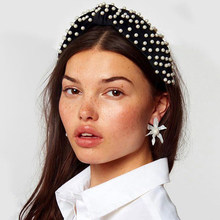 Lalynnly Boho Vintage Soft Velvet Knot Wide Hairband Imitation Pearl Elastic Headband Hoop Turban Hair Accessories Hot F05711(China)