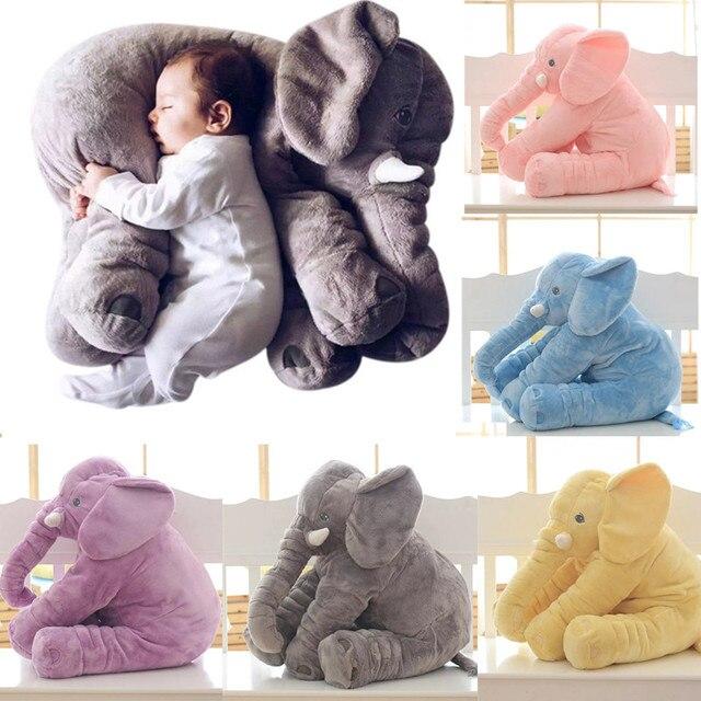 Dos desenhos animados Tamanho Grande Elefante de Pelúcia Brinquedo Crianças Dormindo Almofada de Volta Elefante de Pelúcia Travesseiro Boneca de Presente de Aniversário De Boneca para As Crianças Do Bebê