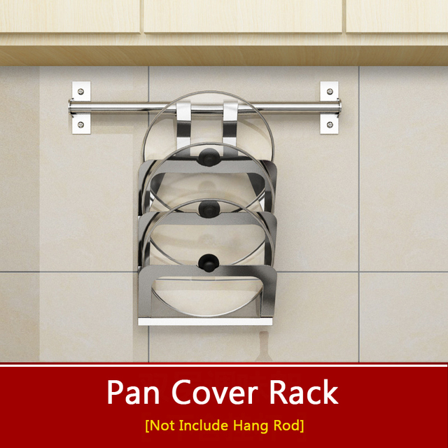1 Pcs Wall Hanging Kitchen Rack Shelf 304 Stainless Steel Pot Lid Racks Storage Holder Pan Cover Frame