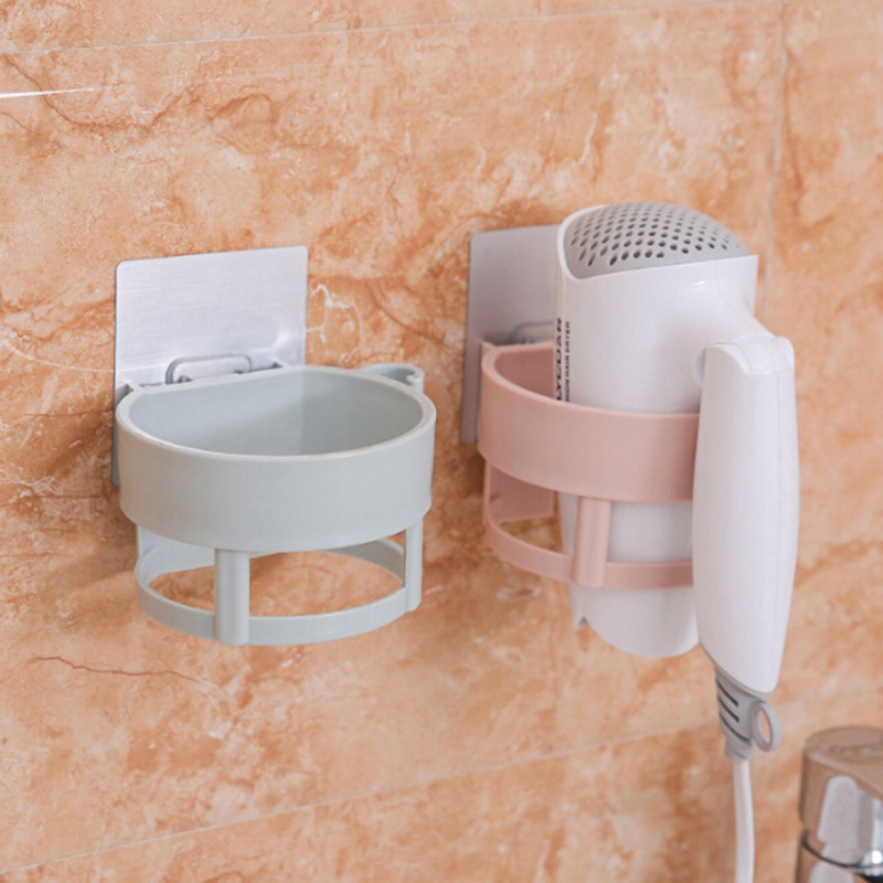 Wall-mounted Removable Sucker Hair Dryer Holder Stand Hair Dryer Rack Shower Bathroom Hairdryer Orgnizing Holder with Suction
