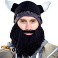 The European and American creative personality beard hat autumn and winter to keep warm the devil horns knitted cap