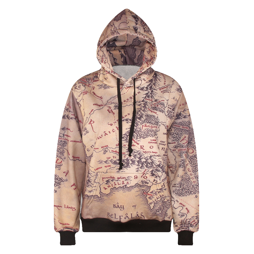 US $22.99 |2016 hoodie middle earth map 3D print casual hoodies women\'s  long sleeve sweatshirts high quality with cap autumn winter style-in  Hoodies & ...