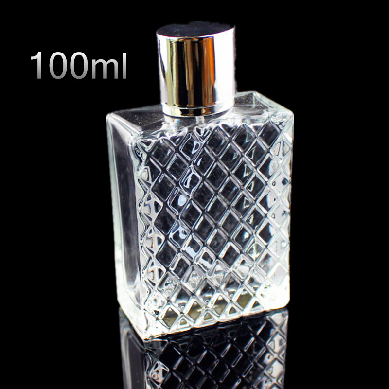 1PC 100ml Transparent Thick Glass Perfume Bottle Square Portable Empty Spray Fragrance Bottle Atomizer Refillable Bottles