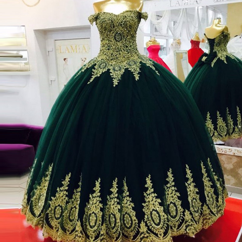 4167666bbca Puffy Emerald Green Quinceanera Dresses 2017 Lace Up Back Off the Shoulder  Gold Bow Lace Pearls Ball Gown Custom Sweet 16 Dress-in Quinceanera Dresses  from ...