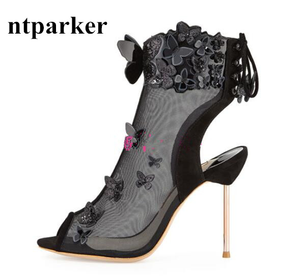 ФОТО Gladiator Fashion Women High Heels Sandals Mesh Huarache Open Toe Dress Zapatos Mujer Ankle Strap Butterfly Chaussure Femmes