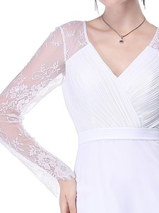 Image 5 - Women Elegant Evening Dresses 2020 Ever Pretty EP08692 A Line V neck Lace Long Sleeves Robe De Soiree Formal Party Dresses 2020