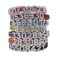 Bling Personalized Pet Dog Collar  Rhinestone Customized Free Numbers Diamond Bucklet Puppy Collars for Small Medium dogs[NB012]