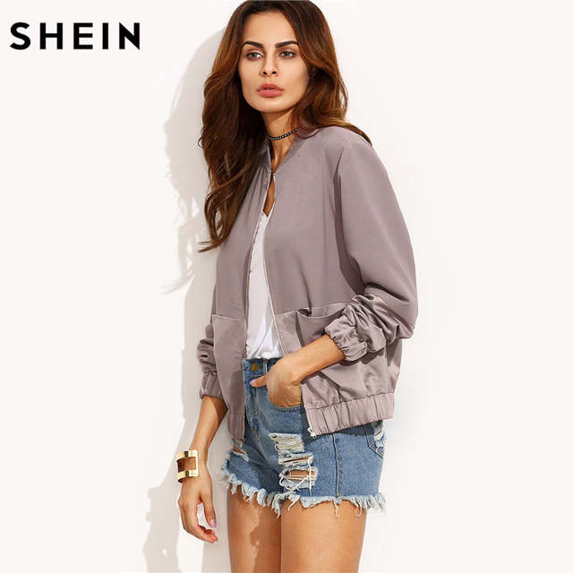 ac086dcfbb SHEIN Womens Autumn Casual Jackets Ladies Color Block Pocket Zipper Front  Stand Collar Long Sleeve Basic