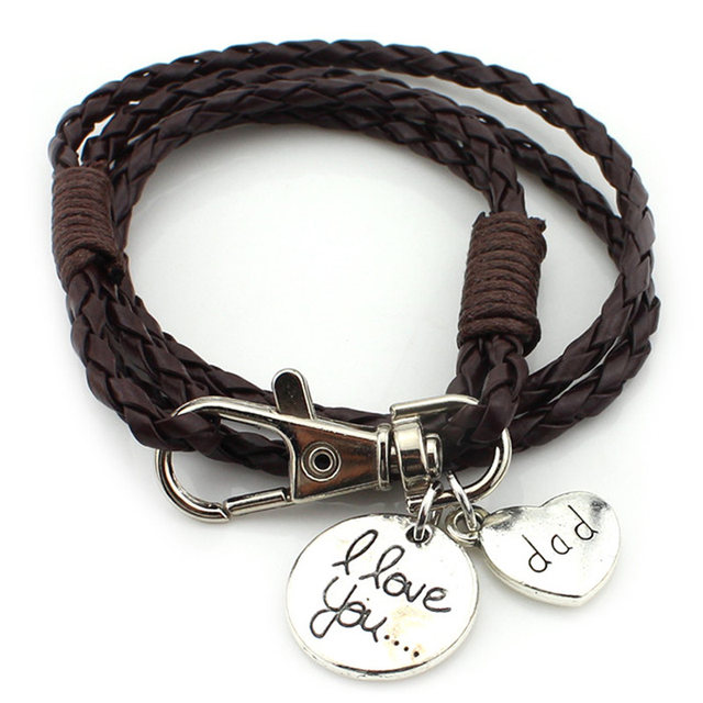 Online shop 2017 fashion jewelry hot sale 40cm pu leather bracelet 2017 fashion jewelry hot sale 40cm pu leather bracelet dad love you pendant bracelets best friend gift free shipping rb2751 aloadofball Images